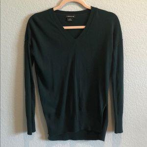 Trouve Dark Green V Neck Sweater XXS